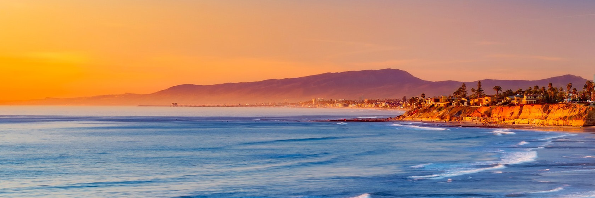A sunset view of a beach in Southern California